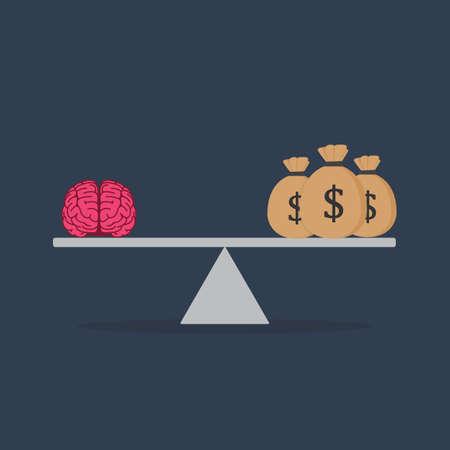 Flat Design Of Idea And Money On The Scale Illusztráció