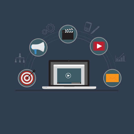 Video Marketing Illustration. Laptop with Video Player and Digital Marketing Icon