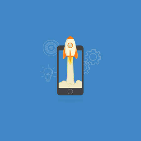 business opportunity: Mobile Startup Illustration, Rocket Launch from Mobile Phone