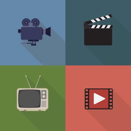 Movie and film icons set. Flat style design. Cinema Recorder, Clapperboard, Retro Television, Film Icon Illusztráció