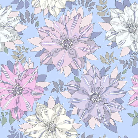 noble: Seamless pattern of botanical flowers and petals. Noble gentle sky blue background with pastel trim buds of flowers and leaves with a high degree of detail. Illustration