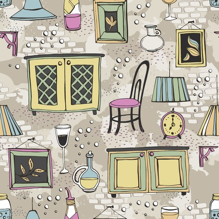 furnishings: Seamless pattern with furnishings and details of European cafe or restaurant. Can be used for curtains, wallpaper, pattern fills, web page background, surface textures. Illustration