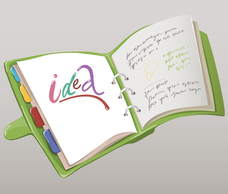 datebook: Illustration of green datebook with bookmarks and inscriptions inside. Illustration