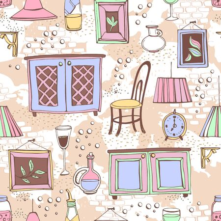 Seamless pattern with furnishings and details of European cafe or restaurant. Can be used for curtains, wallpaper, pattern fills, web page background, surface textures. Vector