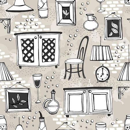 Seamless pattern with furnishings and details of European cafe or restaurant. Can be used for curtains, wallpaper, pattern fills, web page background, surface textures. Illustration