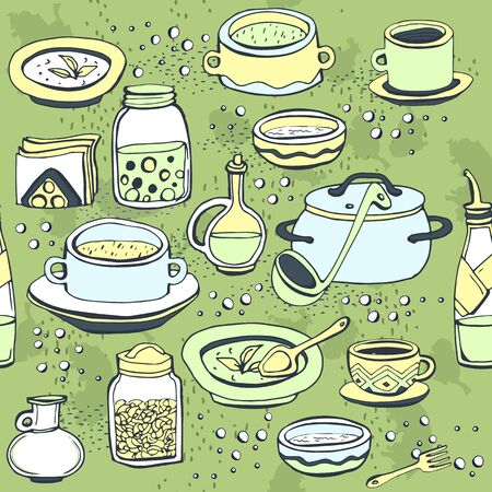 green it: Seamless pattern with utensils and food. Light green background with multi-colored objects on it. Illustration