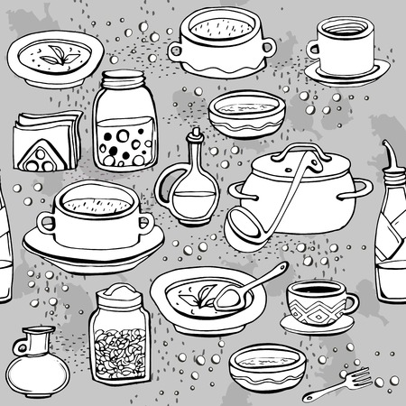 Seamless monochrome pattern with utensils and food. Gray background with white objects on it. Vector