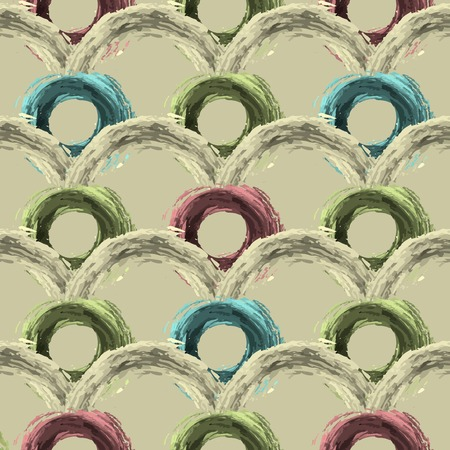 Seamless pattern with abstract lines, circles. Fluffy circles woven into beautiful patterns. Can be used for curtains, wallpaper, pattern fills, web page background, surface textures.