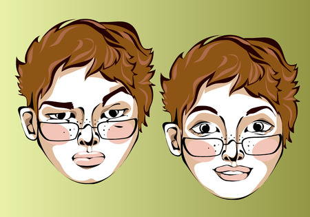 cheeks: Illustration of different facial expressions of women in glasses and a short red straight hair.