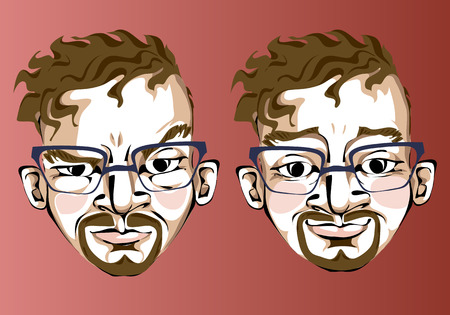Illustration of different facial expressions of a man with brown hair in square glasses with beard and mustache.