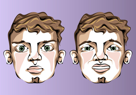 discontent: Illustration of different facial expressions of a man with curly hair and a small beard. Illustration