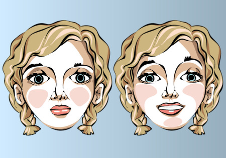 blond hair: Illustration of different facial expressions of a woman with curly blond hair. Illustration