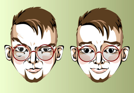 discontent: Illustration of different facial expressions of a man with brown hair, round glasses with a beard