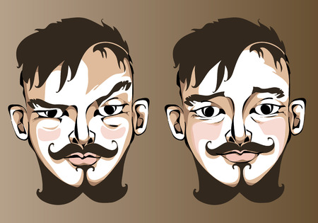 Illustration of different facial expressions a man with short brown straight hair and beard. Vector
