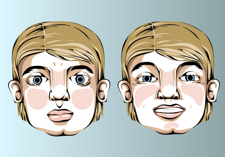 blond hair: Illustration of different facial expressions of a man with straight blond hair.