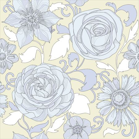 Illustration of a beautiful elegant floral pattern in pastel colors with a high degree of detail.