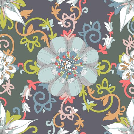 emphasis: Illustration of a beautiful elegant floral design in rich colors with a high degree of detail.  Illustration