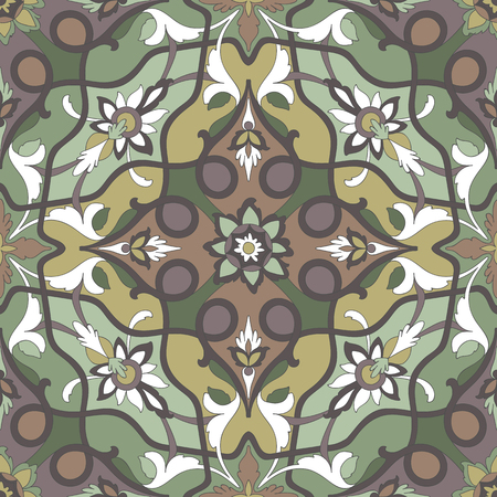 ligature: Amazing dramatic ornamental pattern of excellent quality and detail. Ligature dark stalks of flowers and leaves stranded on a green, emerald green, mustard, brown background.