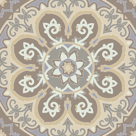 ethnical: Ornamental ethnicity pattern in warm colors. The circular arrangement of stalks and leaves.