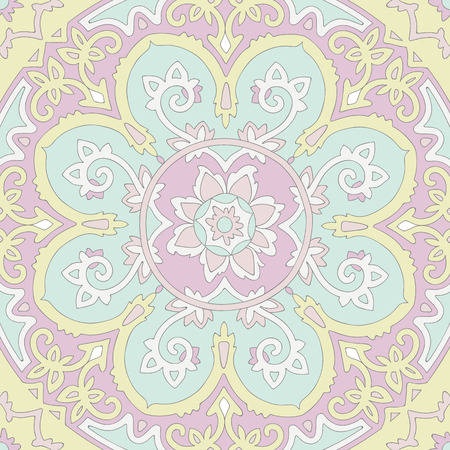 ethnicity: Ornamental ethnicity pattern in warm and cold colors, in pastel scale.  Illustration