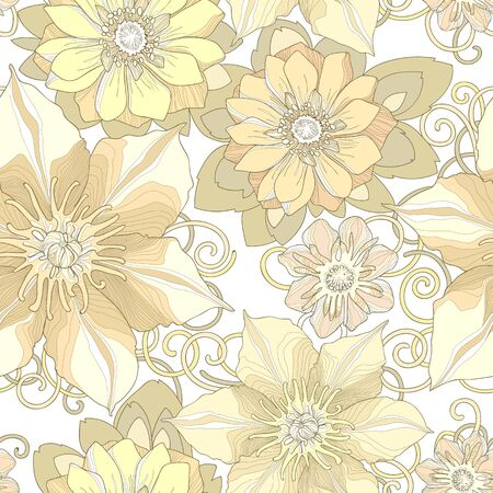 pale yellow: Floral seamless pattern. Detailed flowers, swirls and petals in beige tones. Neutral background, delicate pattern. Pale yellow shades. Stock Photo