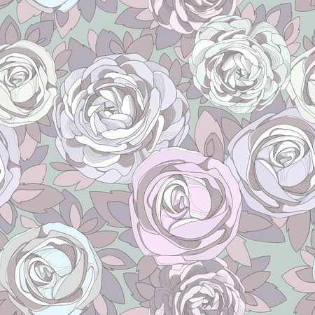 Floral seamless pattern. Roses and peonies. Floral seamless pattern. Detailed flowers, rosebuds and petals. Neutral background, delicate pattern. Purple background with contrasting flowers. photo