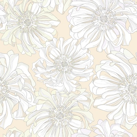 noble: Seamless vector pattern of botanical flowers. Noble gentle light background with pastel trim buds of gorgeous flowers in the shade of sky blue background with a high degree of detail.