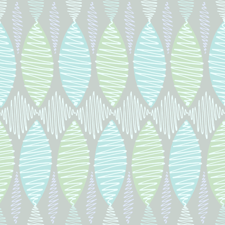 crisp: Seamless vector pattern. Winding thin crisp colorful strokes are staggered. Blue background, white and turquoise elements in pastel shades.
