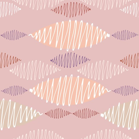 crisp: Seamless vector pattern. Winding thin crisp colorful strokes are staggered. Coral background and pastel range.
