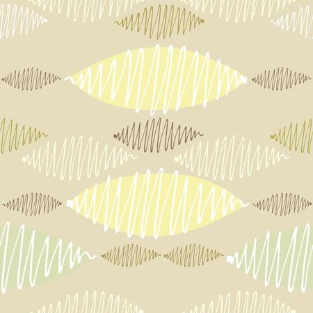 arbitrario: Modelo inconsútil del vector. Winding trazos de colores nítidos delgadas se tambaleó. Fondo amarillo y variedad en colores pastel.