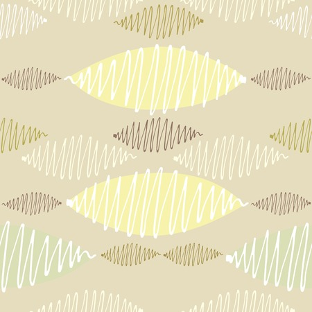 crisp: Seamless vector pattern. Winding thin crisp colorful strokes are staggered. Yellow background and pastel range.
