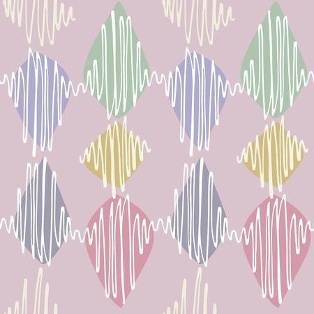 arbitrario: Modelo inconsútil del vector. Winding trazos de colores nítidos delgadas se tambaleó. Polvoriento Neutro rosa color de fondo, los elementos blancos en tonos pastel y verde azul acentos amarillos rosados. Vectores