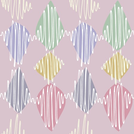 arbitrary: Seamless vector pattern. Winding thin crisp colorful strokes are staggered. Neutral dusty rose color background, white elements in pastel shades and green blue pink yellow accents. Illustration