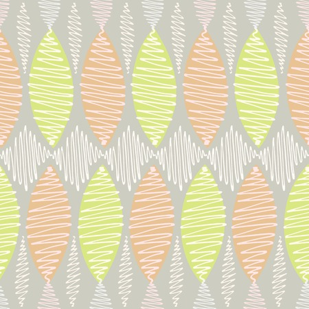 crisp: Seamless vector pattern. Winding thin crisp colorful strokes are staggered. Gray background, white elements in pastel shades and bright orange and light green accents.
