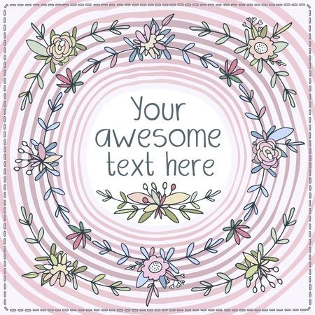 fascinação: Bonitos cartões postais forma quadrada. Floretes pequenos e botões de flores tecelagem, folhas e pétalas de enquadramento postcard no perímetro. Fundo rosa, legal e cores quentes.