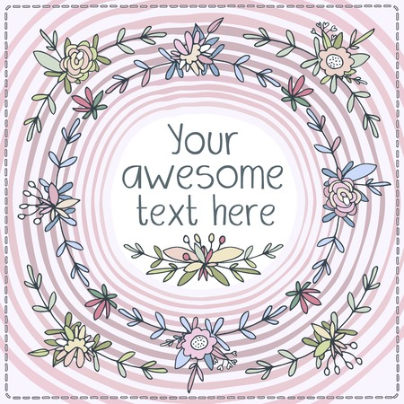 perimeter: Cute postcards square shape. Small florets and weave flower buds, leaves and petals framing postcard on the perimeter. Pink background, cool and warm colors. Illustration