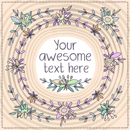 fascinação: Bonitos cartões postais forma quadrada. Floretes pequenos e botões de flores tecelagem, folhas e pétalas de enquadramento do cartão no perímetro. Fundo do mel, fresco e cores quentes.