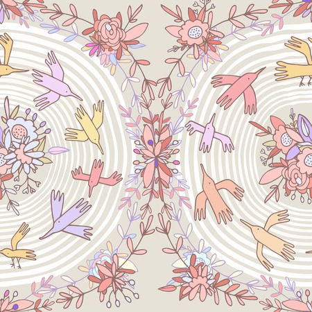 Circular seamless pattern. Vintage print, paper wallpaper, fabric printing. Cartoon colorful birds flying through the hypnotic circle surrounded by beautiful flowers and pretty petals. Autumn colors. Vector