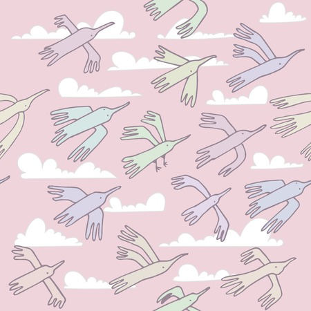 Seamless pattern. Wallpaper, fabric printing. Flying colorful funny cartoon birds. Background of sky with fluffy clouds. Vector