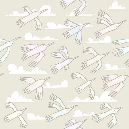 fluffy clouds: Seamless pattern. Wallpaper, fabric printing. Flying colorful funny cartoon birds. Background of sky with fluffy clouds.