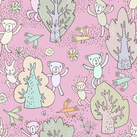 Seamless pattern. Wallpaper, fabric printing. Image of cheerful cute cartoon forest animals, trees and birds. Bears charming, funny and cute birds bunnies smiling and waving their paws. Autumn colors. Vector