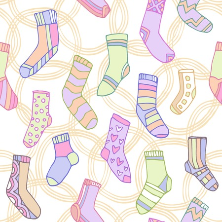 Seamless pattern with cute socks in cartoon stile Vector