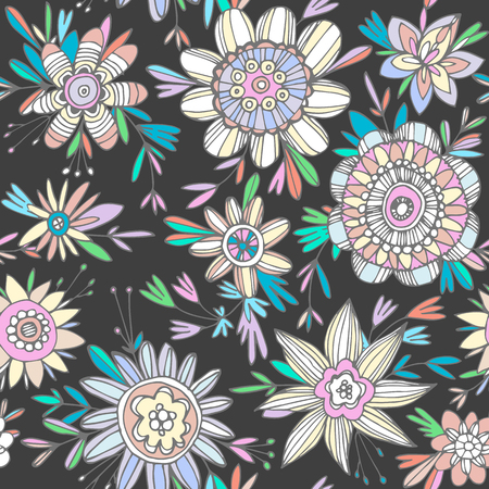 seamless bacground: seamless colorful floral pattern in cartoon stile. Contrast dark bacground and bright flowers.