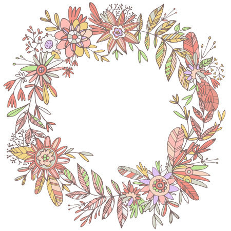 ligature: Illustration of highly detailed vector image of gorgeous wreath woven from cute petals and beautiful flowers. Ligature of stems and petals with pastel flowers pink and red shades