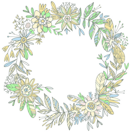 ligature: Illustration of highly detailed vector image of gorgeous wreath woven from cute petals and beautiful flowers. Ligature of stems and petals with pastel flowers green and yellow shades