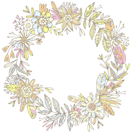 ligature: Illustration of highly detailed vector image of gorgeous wreath woven from cute petals and beautiful flowers. Ligature of stems and petals with pastel flowers yellow and orange shades Illustration