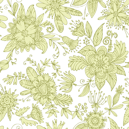high detail: Seamless floral pattern. High detail flower buds, petals, shoots, buds and tendrils. Can be used for curtains, wallpaper, pattern fills, web page background, surface textures. Illustration