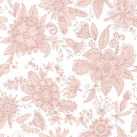Seamless floral pattern. High detail flower buds, petals, shoots, buds and tendrils. Can be used for curtains, wallpaper, pattern fills, web page background, surface textures. Vector