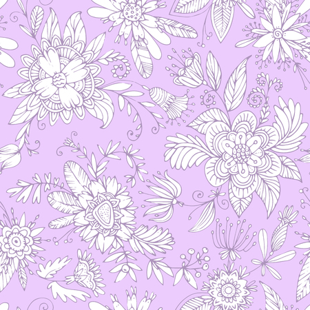 Seamless floral pattern. High detail flower buds, petals, shoots, buds and tendrils. Can be used for curtains, wallpaper, pattern fills, web page background, surface textures. Illustration