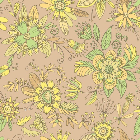 tendrils: Seamless floral pattern. High detail flower buds, petals, shoots, buds and tendrils. Can be used for curtains, wallpaper, pattern fills, web page background, surface textures. Illustration